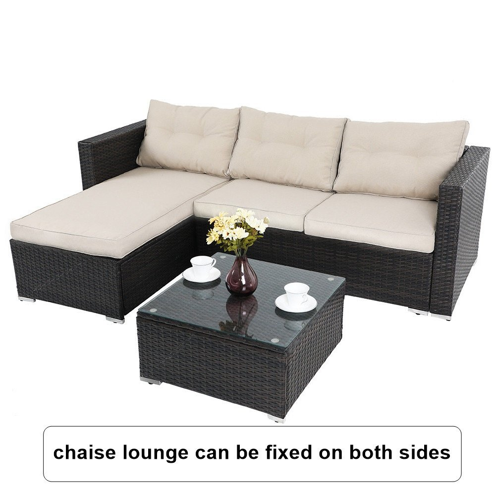 PHI VILLA 3-Piece Outdoor Rattan Sectional Sofa- Patio Wicker Furniture Set, Beige by PHI VILLA (Image #2)