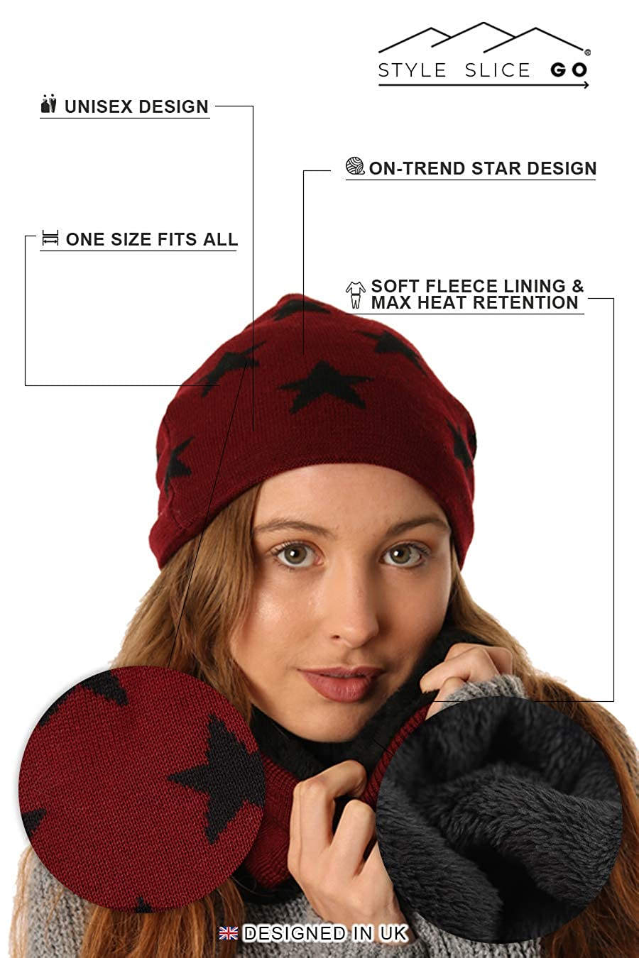 d840503563a STYLE SLICE Winter Hats Fleece Lined Hat and Scarf Sets for Women Men  Unisex Star Print
