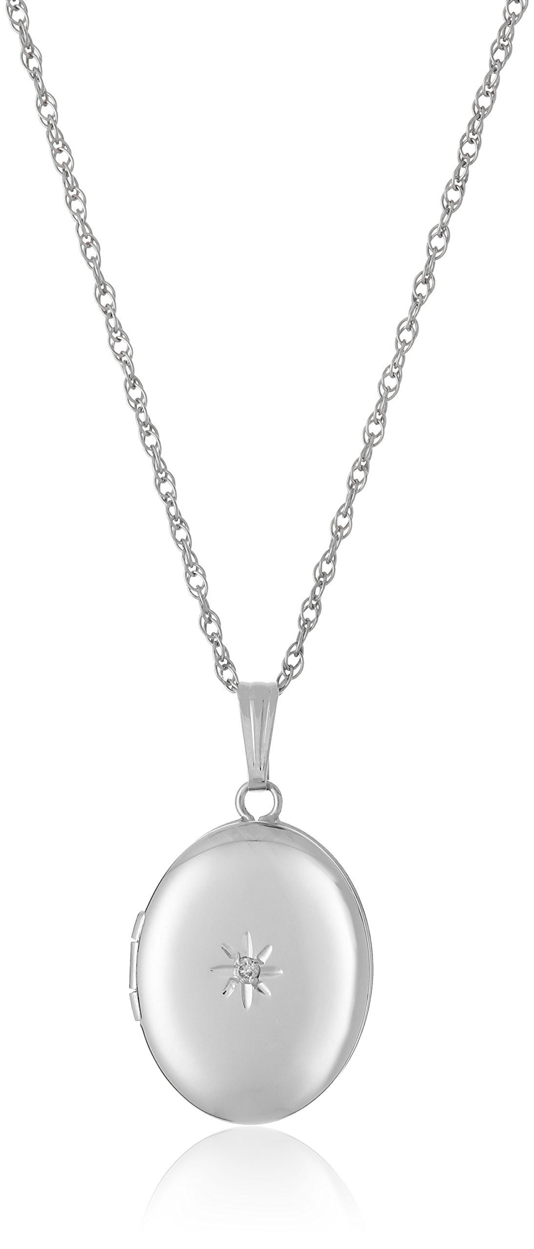 14k White Gold Oval Locket with Diamond-Accent, 18''