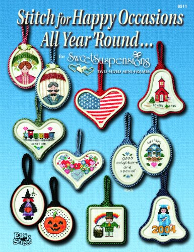 Easy Street Crafts B511-HOBC Happy Occasions All Year Round Booklet Stitch with 24 Counted Cross-Stitch Charts and 6 Double-Sided Mini-Frames Cross Stitch Ornament Frames