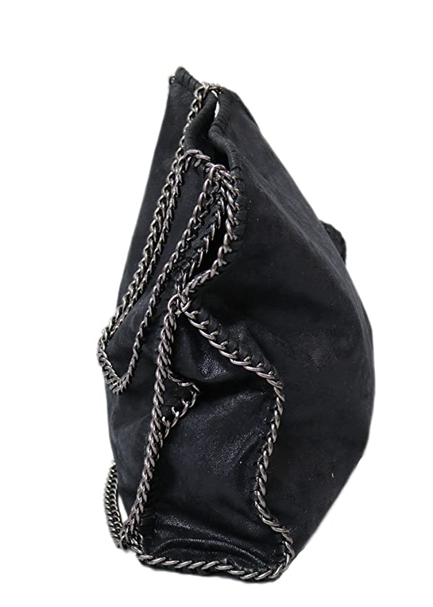 Designer Handtasche mit Kettenelementen by Sassyclassy | große Damen Umhänge Tasche in Schwarz mit Reißverschluss | Chain Bag aus PU Leder mit