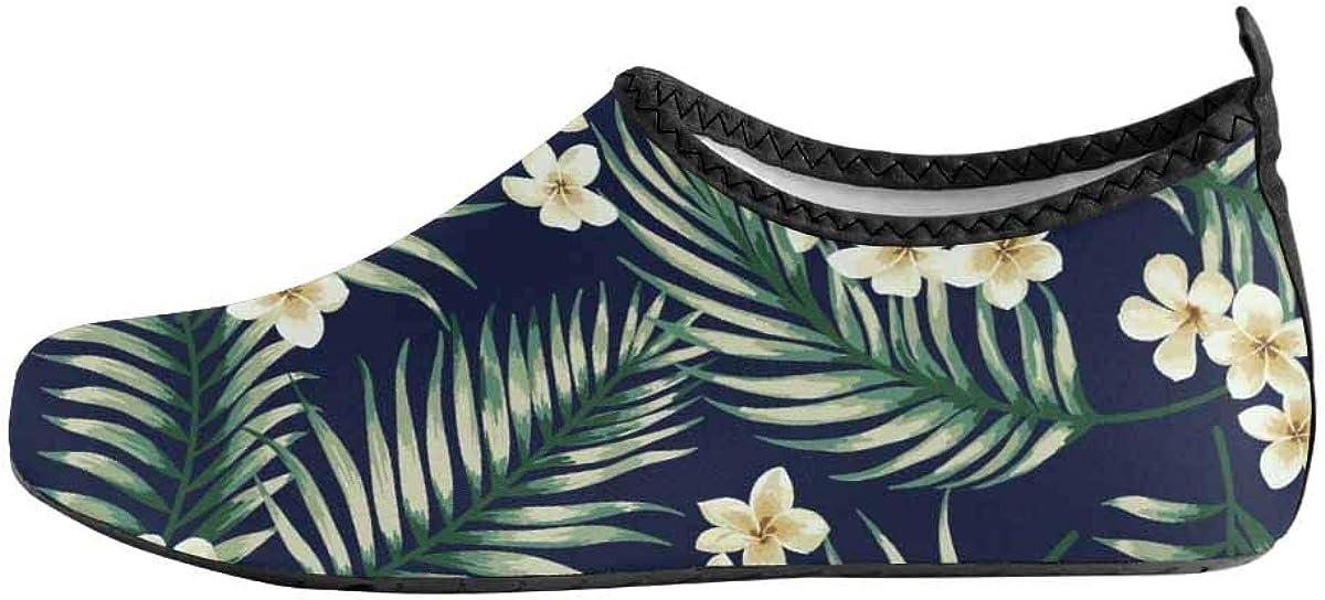 INTERESTPRINT Mens Water Sports Shoes Exotic Leaf Flowers Barefoot Shoes Beach Aqua Socks
