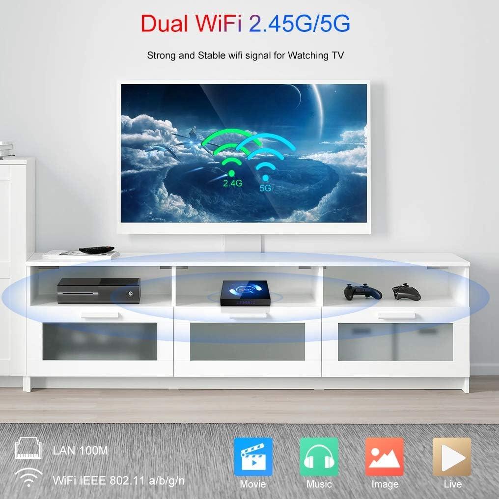 Android 10.0 TV Box, QPLOVE Q6 Android TV Box【4GB RAM 128GB ROM】 H616 Quad Core 64bits Cortex A53 CPU Mali-G31 GPU Soporte 3D 6K Ultra HD 2.4G/5G WiFi Bluetooth 5.0 H.265 Smart