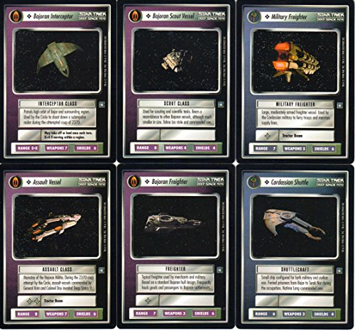 Complete Set of 12 Uncommon and Common Ship Cards from Star Trek Deep Space Nine Customizable Card Game (CCG)