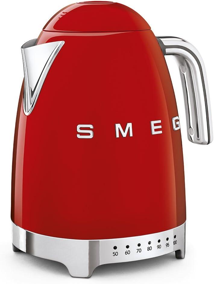 Smeg KLF04WHUK Kettle, LED Display, 360 Swivel Base, 7 Temperature Settings, Water Level Indicator, Anti-Slip Feet, Soft-Open Lid, 3 KW, 1.7 Litre, White Red