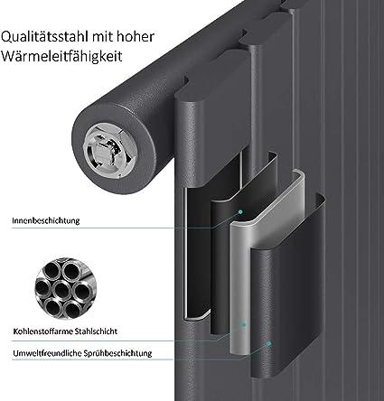 Paneelheizk/örper 1317 Watt Einlagig Mittelanschluss Heizkoerper Heizung Vertikal-Wei/ß Design Flach Heizk/örper 180 x 62 cm