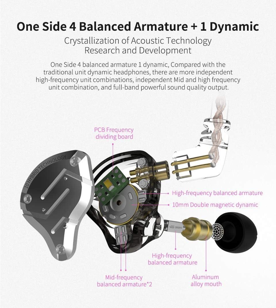 KZ ZS10 Pro iWish 4BA+1DD In-Ear HiFi Metall-Kopfh/örer mit Edelstahl-Blende 2 Pin abnehmbares Kabel Without Mic Schwarz