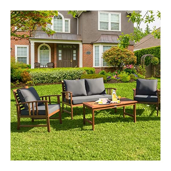 Tangkula 4 PCS Wood Patio Furniture Set, Outdoor Seating Chat Set with Gray Cushions & Back Pillow, Outdoor Conversation Set with Coffee Table, Ideal for Garden, Backyard, Poolside (Wood) - ☀️ Sturdy & Durable Frame☀️ : The frame of set is made of premium acacia wood which ensures the sturdiness and durability. And the set is not easy to deform and crack so that the set will provide long time service. With no peculiar smell and clear varnish on the wood, the frame is waterproof and the beauty can be kept for long time. ☀️ Ergonomic Design of Sofa ☀️ : Designed with slightly sloping backrest and curved handrails, the single chair and loveseat is very comfortable for relaxing yourself. With thick and soft cushions, it will also add comfort. And the seat cushions can be fixed on the slat of chair with strings. You don't need to worry about moving of cushion. ☀️ Multipurpose 4-piece Furniture☀️ : Our furniture set which includes 4 pieces can be combined in various ways or be used separately according to your different needs. You can enjoy good time with your family to drink, eat or chat. The set is ideal for your garden, patio, balcony, poolside and backyard to be a perfect décor. - patio-furniture, patio, conversation-sets - 61ReDnfcSpL. SS570  -