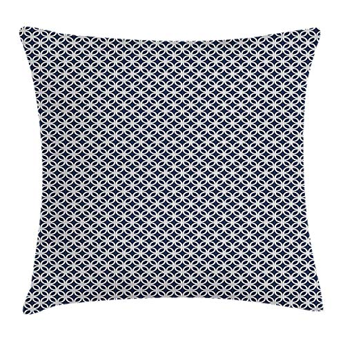Queolszi Navy Blue Throw Pillow Cushion Cover, Marine Rope in Geometric Pattern Design Ocean Travel Cruise Mosaic Ornament, Decorative Square Accent Pillow Case, 22 X 22 Inches, Dark Blue White]()