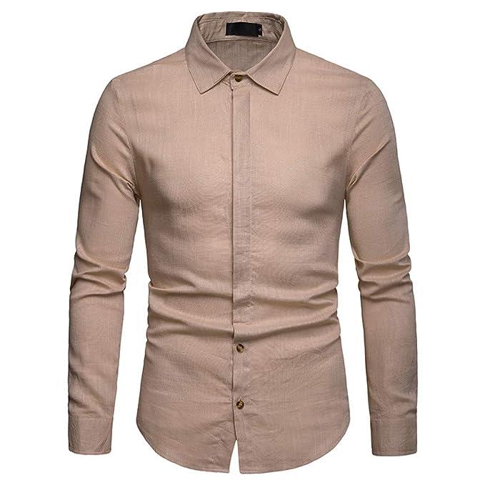 057dd779f94 Men s Slim Dress Shirts Button Top Long Sleeve Business Single Breasted  Blouse Khaki