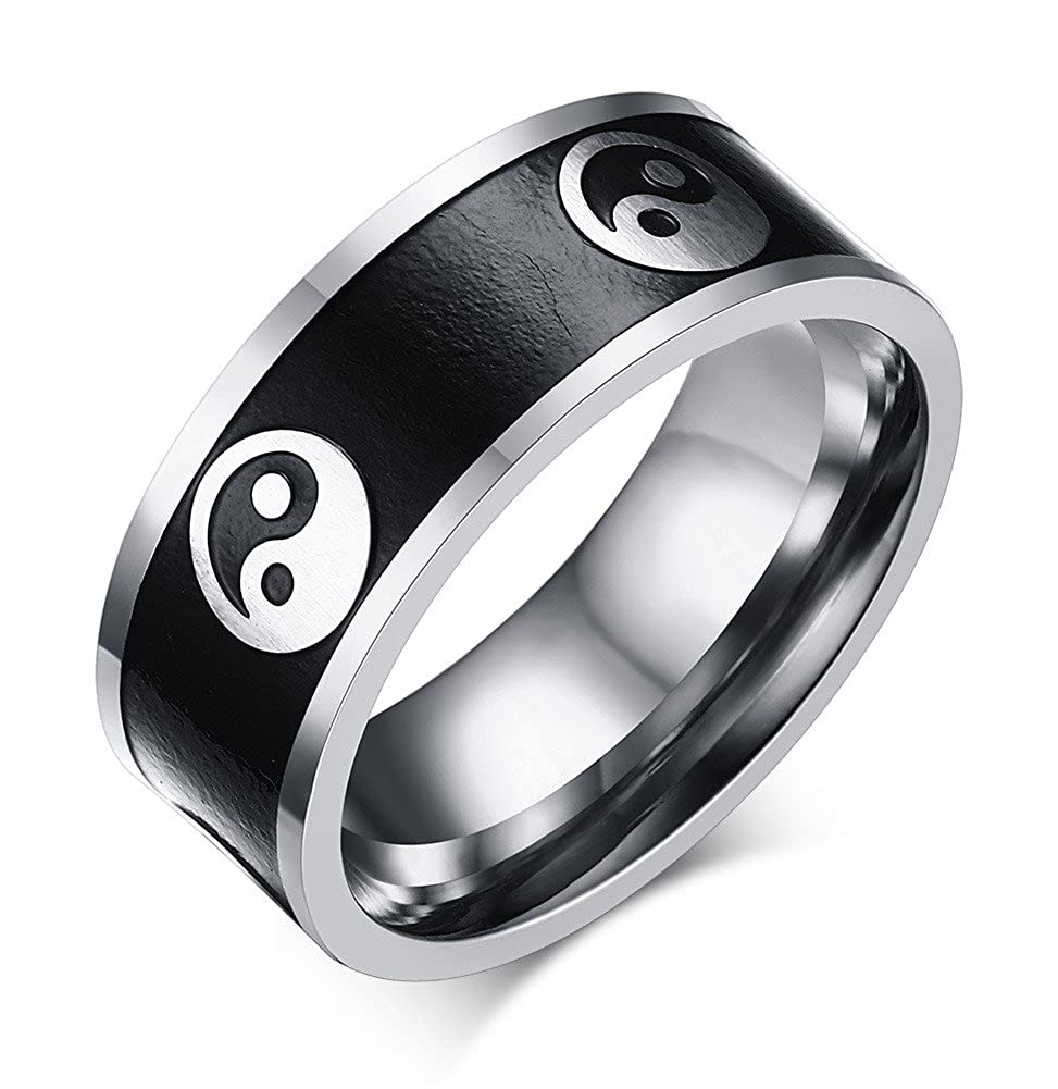 8mm Stainless Steel Two-tone Black Yin Yang Tai Chi Ring Band for Men Mealguet MG--R--141