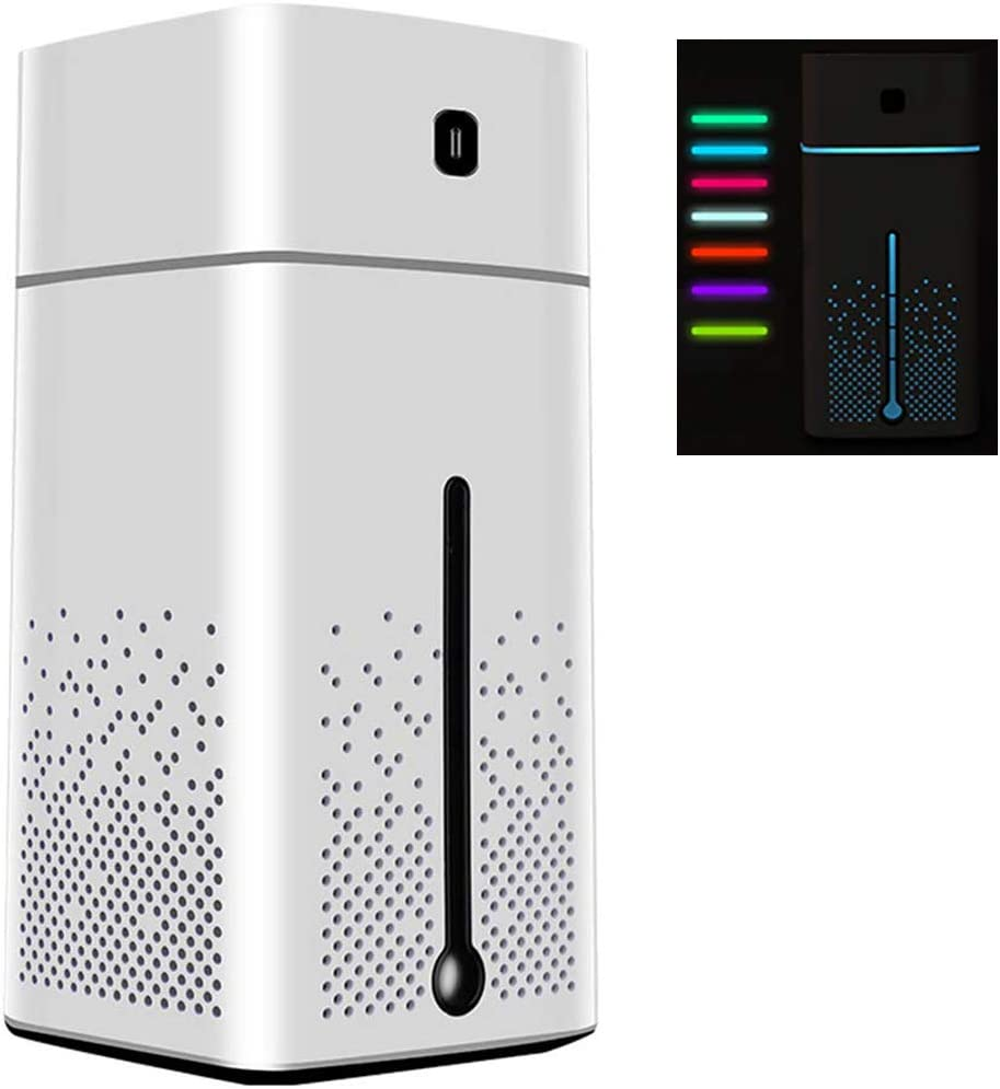 Large USB Ultrasonic Humidifier with Night Light, Essential Oil Diffuser Cool Aromatherapy Mist Maker with Auto Shut-Off and Quiet Operation for Yoga Car Office Home Bedroom Baby Room, 1000ml (White)