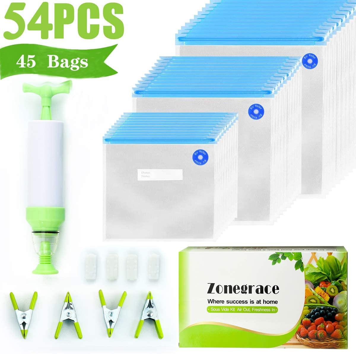 Zonegrace Sous Vide Bags 45 Reusable Vacuum Food Storage Bags for Anova and Joule Cookers - 3 sizes Sous Vide Bag Kit with Pump - 4 Sealing Clips for Food Storage and Sous Vide Cooking