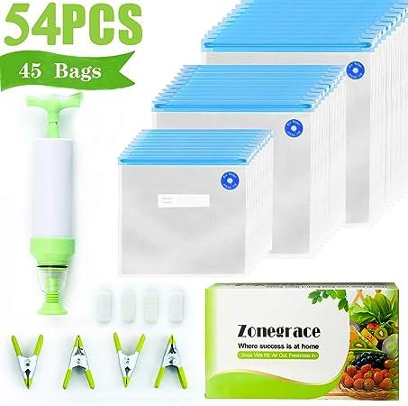 Amazon.com: Zonegrace Sous Vide - 45 bolsas reutilizables ...