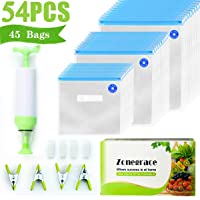 Zonegrace Sous Vide Bags 45 Reusable Vacuum Food Storage Bags for Anova and Joule Cookers - 3 sizes Sous Vide Bag Kit with Pump - 4 Sealing Clips - 4 Sous Vide Bag Clips for Food Storage and Sous Vide Cooking