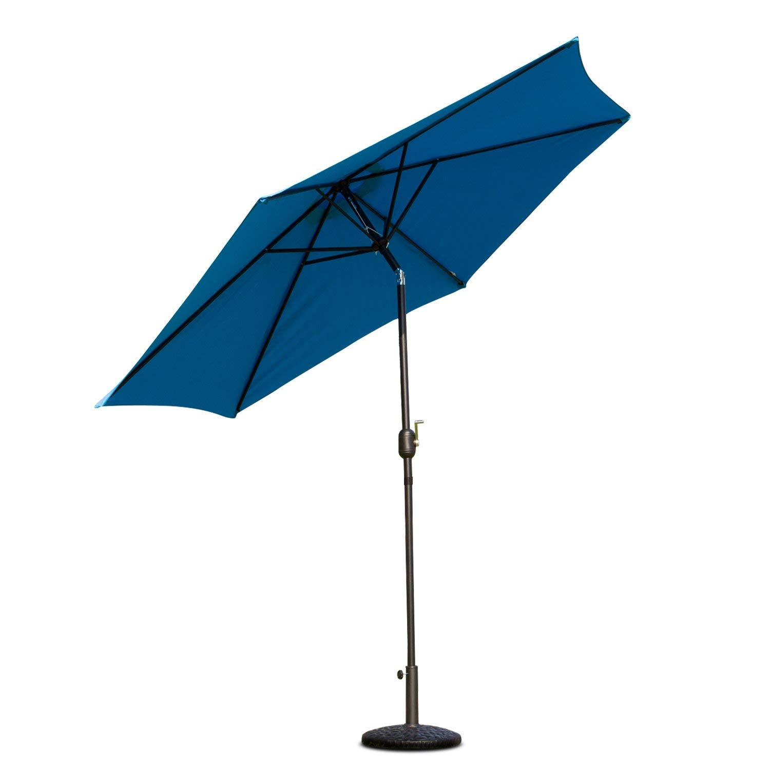 Peach Tree Sunbrella 10FT Market Table Outdoor Patio Umbrella New Outdoor Garden Camping Garden Furniture Parasol Iron Pole with Base&Push Button Tilt Crank Lift Mechanism, Blue