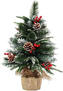 Table Top Mini Christmas Tree 2 Foot, Small Artificial Christmas Trees, for Chirstmas Home Decoration, Includes Pine Cones, red Berries and Cloth Bag Base, Great for Tabletop or Desk