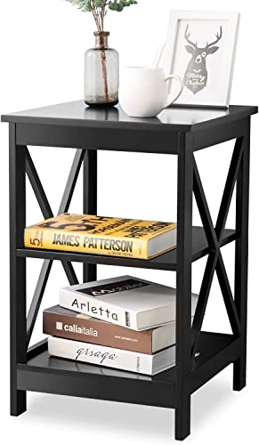 End Table for Living Room RASOO Wood Black X Legs Design Side Table Nightstand with Open Shelves 15.75 Lx 15.75 W x 24.02 H