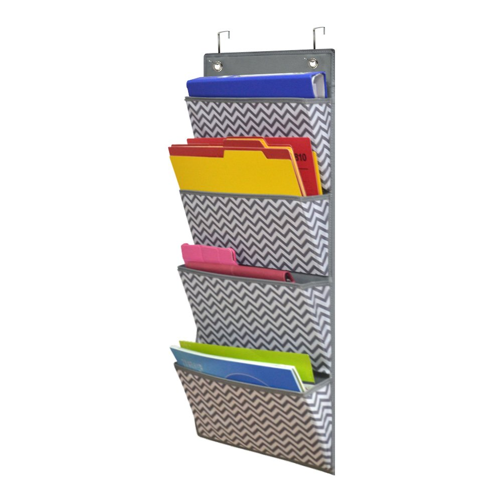 Godery Hanging Wall Organizer, Wall Mount/Over The Door Office Supplies Filing Folders, Fabric 4 Pocket Cascading File Organizer - Notebooks, Planners, Mail, Letter, File Folders