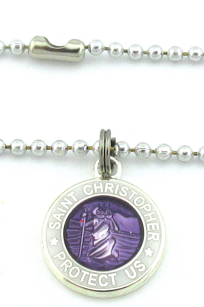 Get Back Supply Co Mini St Christopher Surf Medal Pendant Necklace,Violet/White VI/WH