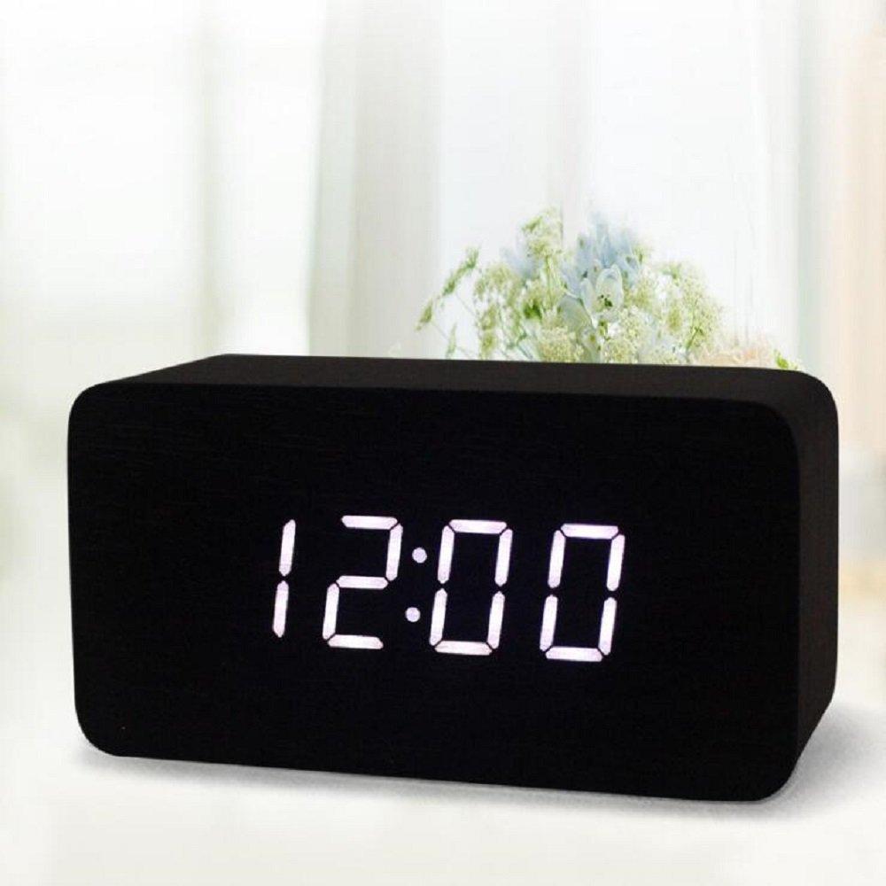 SPA Tool Alarm Clock LED Digital Clock Wooden Alarm Clock Acoustic Control Battery or USB Powered Mini Rectangle Wood Clock Desk Clock Time Display & Voice Control (Black Wood White LED)