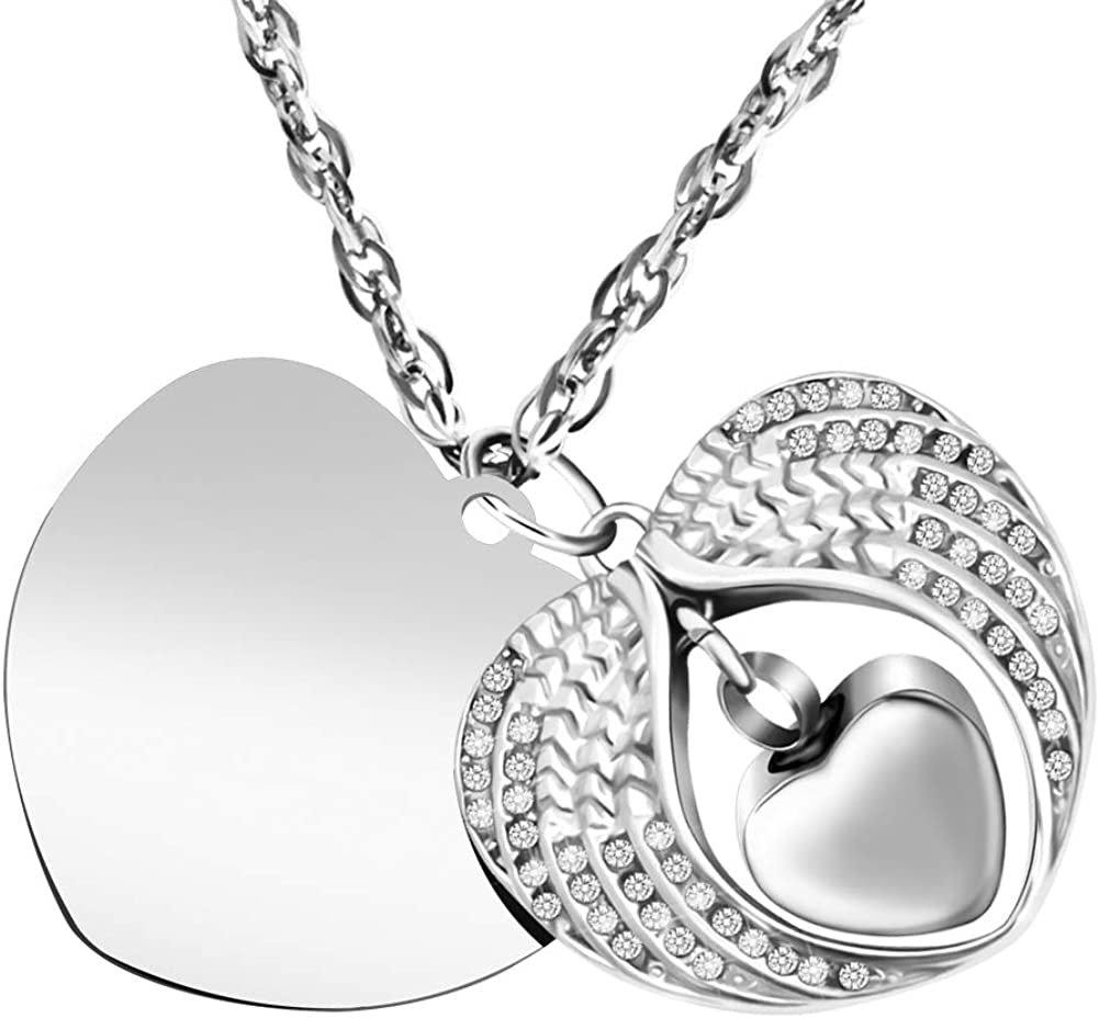Amazon Com Abooxiu Dad Mom Cremation Jewelry For Ashes Angel Wings In Heart Urn Necklaces Stainless Steel Memorial Pendant Keepsake Customize Available Pendant Clothing
