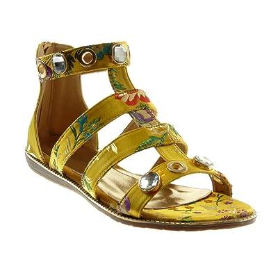 size 40 41acc dd75e Angkorly Chaussure Mode Sandale Lanière Cheville Spartiates Femme Bijoux  Fleurs Brodé Talon Plat 1.5 cm