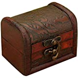Hofumix Jewelry Box Vintage Wood Handmade Box with Mini Metal Lock for Storing Jewelry Treasure Pearl