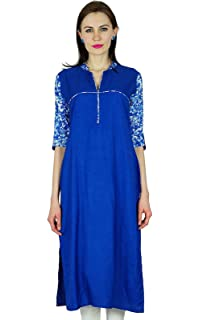 Bimba Women Straight Rayon Custom Kurta Kurti Ethnic Indian Blue Top Casual Formal Tunic