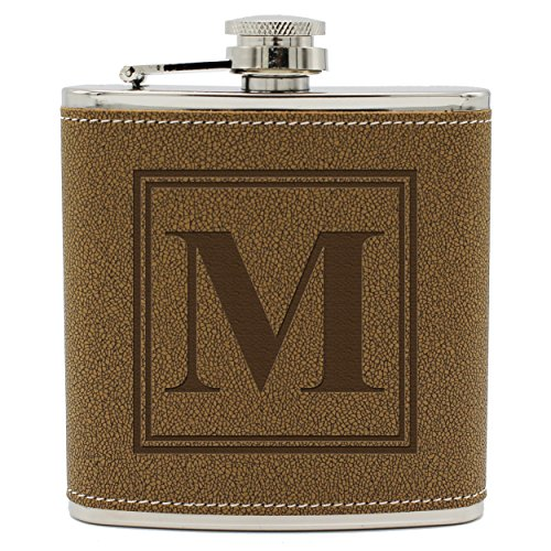 - Personalized Groomsmen Hip Flasks - Engraved Groomsman Gift Ideas - Custom Monogrammed for Free (Square Initial Style - Brown Flask)