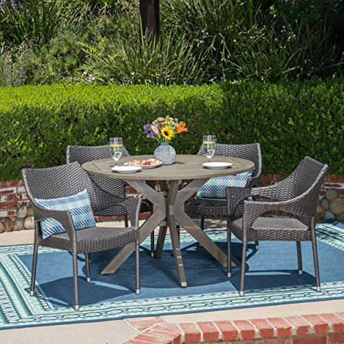 Christopher Knight Home 305108 Lina Outdoor 5 Piece Wood and Wicker Dining Set, Gray, Finish