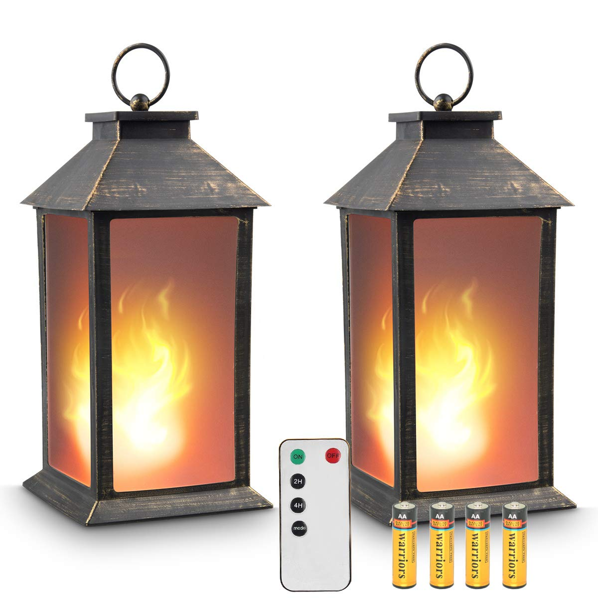 zkee 13'' Vintage Style Lantern,Flickering Flame Effect Tabletop Lantern(Black,Remote Timer and Batteries Included) Indoor/Outdoor Hanging Lantern,Decorative Candle Lantern (Set of 2)