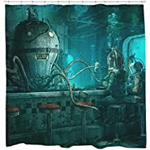 Steampunk Octopus Shower Curtain Video Game Art Nautical Decor Waterproof 12 Hooks Included