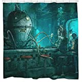 Octopus and diver video game shower curtain bioshock steampunk bathroom