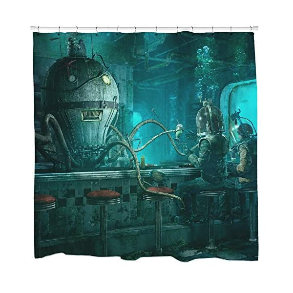 Sharp Shirter Retro Shower Curtain Set Steampunk Bathroom Decor Cool Octopus Scuba Diver Art 71x74 Hooks Included 3
