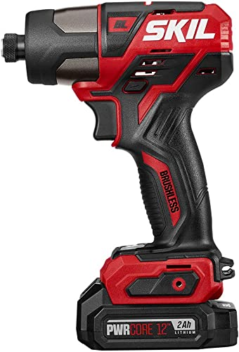 SKIL PWRCore 12 Brushless 12V 1 4 Inch Hex Cordless Impact Driver, Includes Two 2.0Ah Lithium Batteries and PWRJump Charger – ID574402