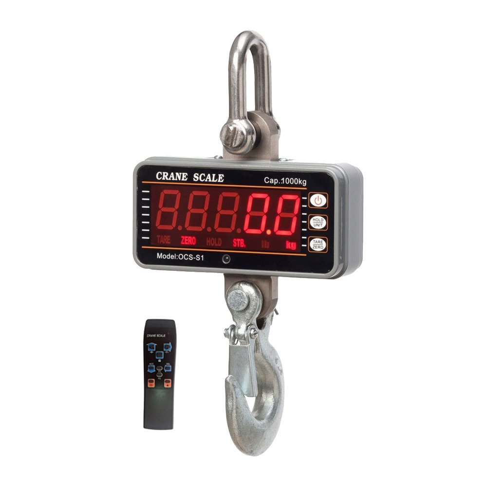 iDili CE Certified High Precision Stainless 1000KG 2000LBS 1T Aluminum Digital Crane Scale Heavy Duty Compact Hanging Scale OCS-S1 Smart Type LED Display 0.5kg with Remote