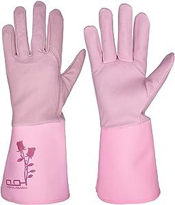 HANDLANDY Gardening Gloves Women, Thorn Proof Rose Pruning Gloves, Long Leather Yard Work Gloves for Ladies (Medium, Pink)