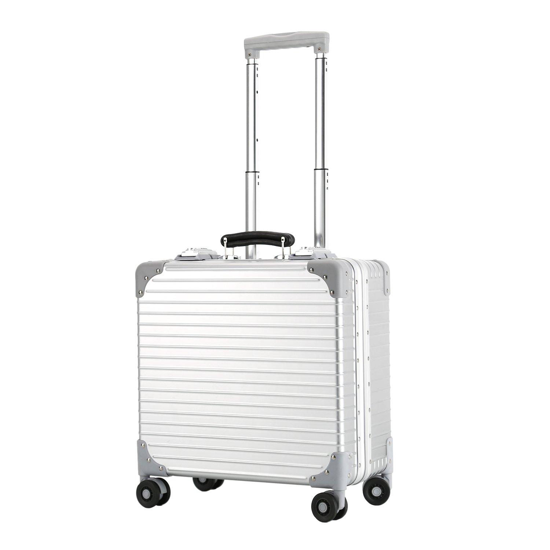 スーツケース アルミフレーム 機内持ち込み TSAロック搭載 静音キャスター360度回転 ベルトフック付き 旅行 軽量 18inch B0781J1Q2B シルバー シルバー
