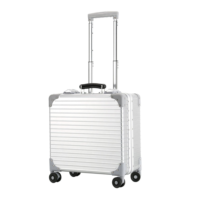 Lightweight Travel 18 Inch Luggage Carry on Check in Boarded Hard Side Luxury Underseat Suitcase Rolling Wheels Multifunction Attache Case Aluminum Frame TSA Locks Men Women Silver