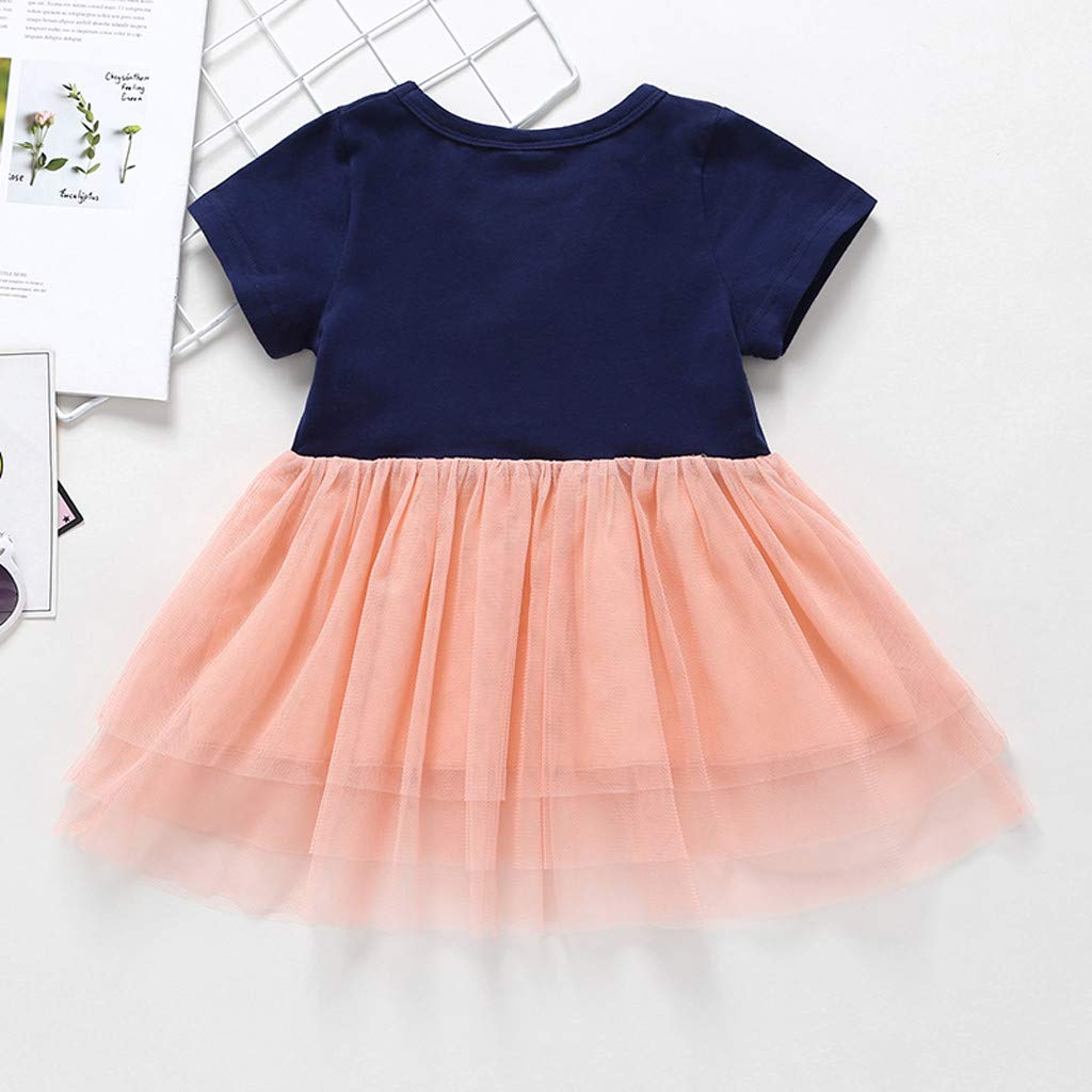Baby Girls Summer Sundress Clothes Set Little Princess Dresses Toddler Kids Baby Girl Cartoon Tiered Tulle Skirt