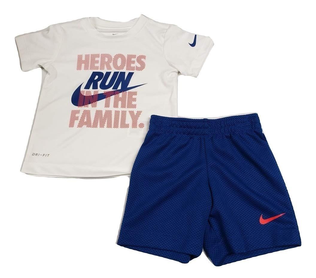 Nike Toddler Boys' Dri Fit Short Sleeve T-Shirt and Short 2 Piece Set (Indigo Force (76E906-C3M)/White/Red, 4T)