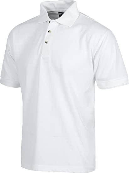 Work Team Polo manga corta sin bolsillo. HOMBRE Blanco XL: Amazon ...