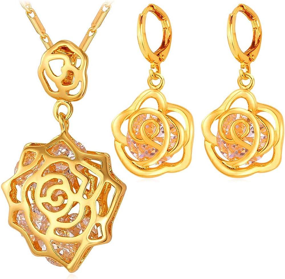 GLJIJID Joyas De Moda, Rosetón Calado con Diseño De Zircón, Pendientes Colgantes De Oro.