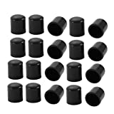 uxcell 20pcs 9mm Dia Black PVC Rubber Round Cabinet Chair Leg Floor Insert Cover Protector