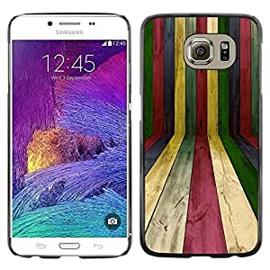 Design for Girls Plastic Cover Case FOR Samsung Galaxy S6 Lines Wood Texture Rainbow Pastel Colorful OBBA