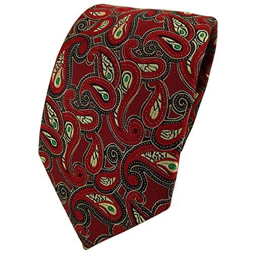 TigerTie Designer cravate en rouge doré vert noir Paisley à motifs