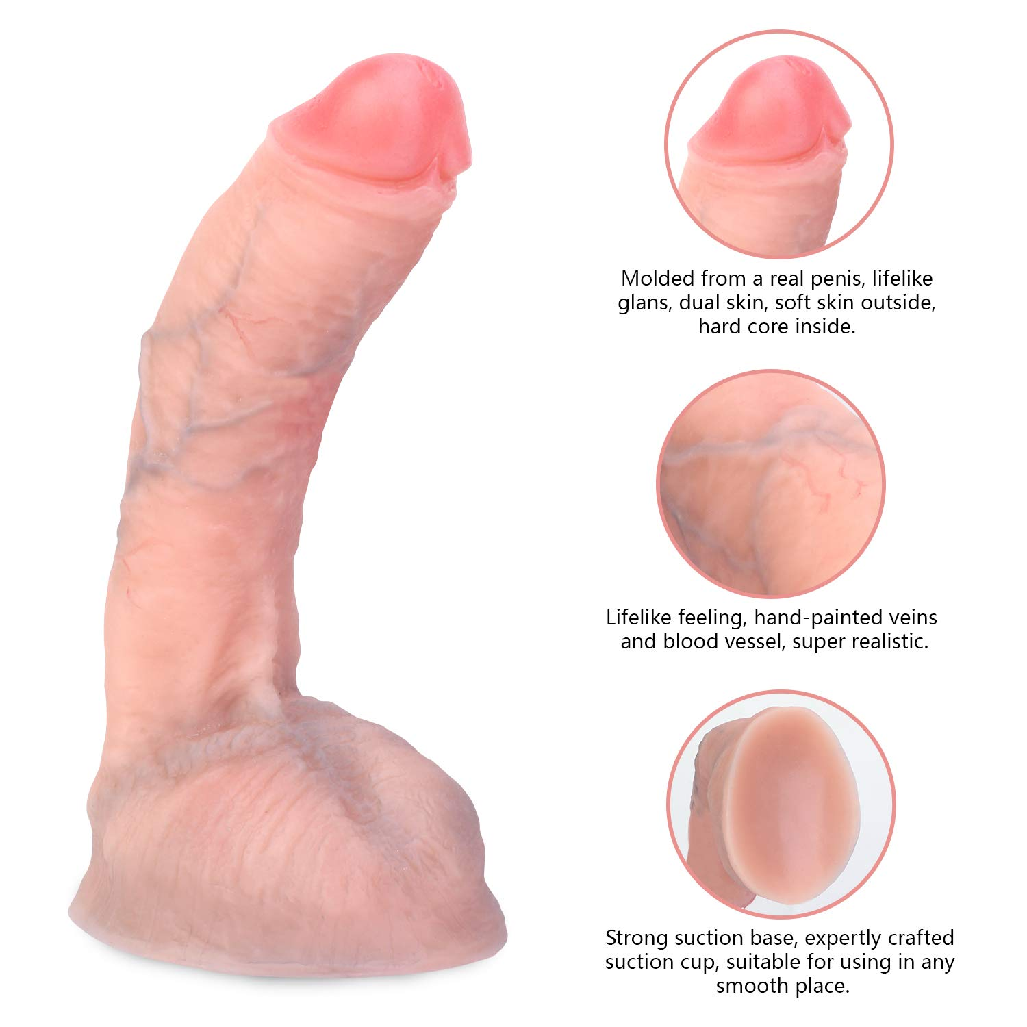 Hyper Realistic Ultra-soft silicone Dildo Lifelike Vein Superior Penis Dual Layer Liquid Silicone Bendable Penis with Suction Cup Adult Sex Massage Masturbation Toys for Women 8.8 inch (Natural Flesh) by Being Fetish