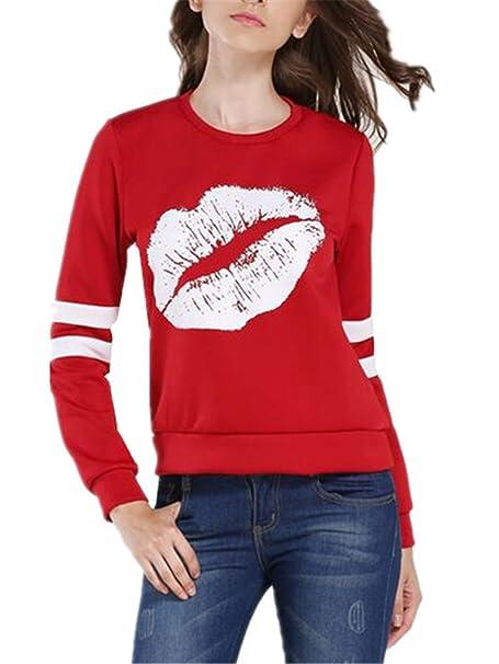 Kerlana Blusas Moda Mujer Manga Larga T-Shirts Casual Cuello Redondo Pulover Impresión De Labios Tops Running: Amazon.es: Ropa y accesorios