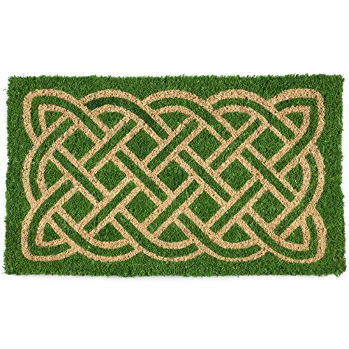Entryways Celtic Handmade, Hand-Stenciled, All-Natural Coconut Fiber Coir Doormat 18